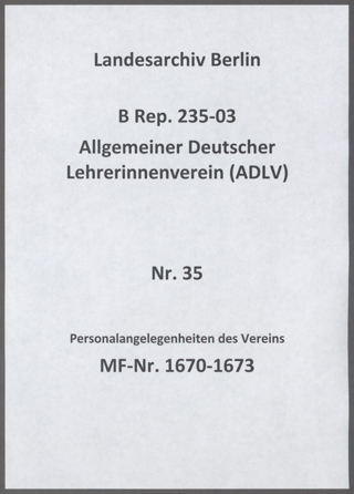 Personalangelegenheiten des Vereins: Schriftwechsel, Verträge, Kündigungen und Zeugnisse von Mitarbeiterinnen der Geschäftsstelle