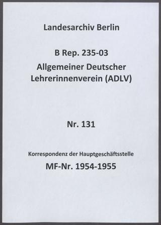 Schriftwechsel der Geschäftsführerin Annie Schrabach v.a. mit den Mitgliedern des Gesamtvorstandes